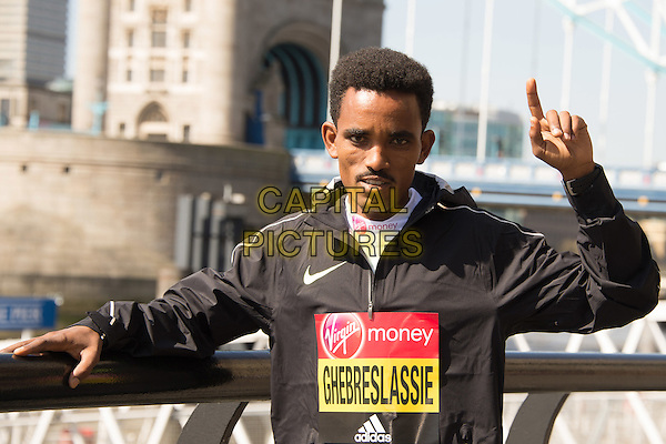 LONDON, ENGLAND - APRIL 20  Ghirmay Ghebreslassie at the 2016 Virgin Money London Marathon - Elite Mens Photocall at the Tower Hotel in London, England. 20th April 2016.<br /> CAP/JWP<br /> &copy;JWP/Capital Pictures