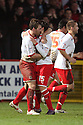 Scott Laird of Stevenage is congratulated by Luke Freeman after scoring their third goal. - Stevenage v Milton Keynes Dons - npower League 1 - Lamex Stadium, Stevenage - 24th January 2012. © Kevin Coleman 2012