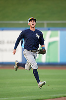 Charlotte Stone Crabs right fielder Miles Mastrobuoni (5) runs off the field during the first game of a doubleheader against the St. Lucie Mets on April 24, 2018 at First Data Field in Port St. Lucie, Florida.  St. Lucie defeated Charlotte 5-3.  (Mike Janes/Four Seam Images)