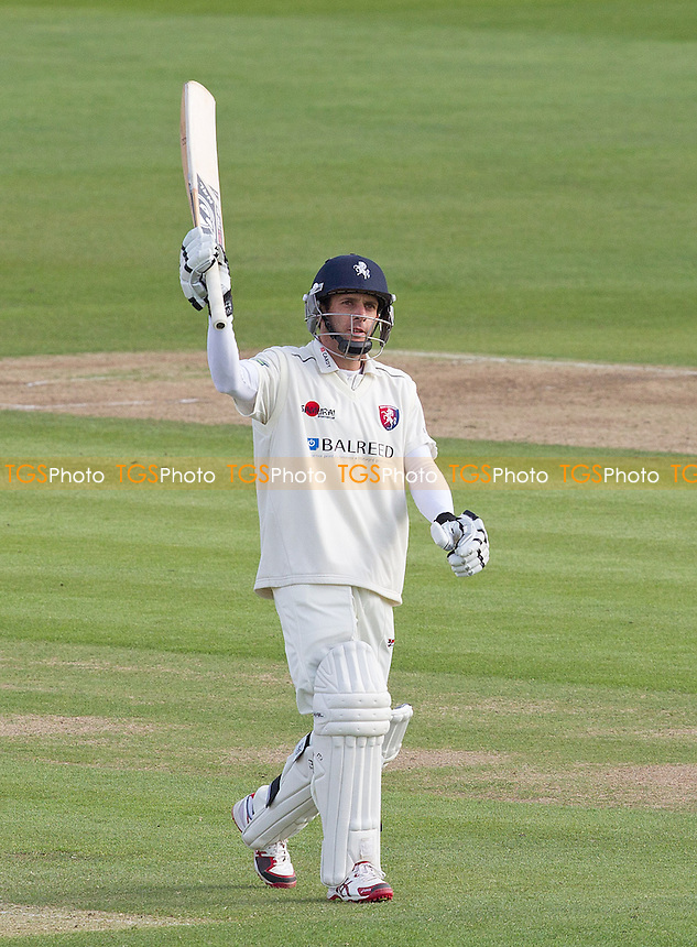 Brendan Nash, Kent CCC acknowledges his century, made from 125 deliveries and containing 17 boundaries - Kent CCC vs Surrey CCC - LV County Championship Division Two Cricket at the Spitfire Ground, St Lawrence, Canterbury, Kent - 05/05/14 - MANDATORY CREDIT: Ray Lawrence/TGSPHOTO - Self billing applies where appropriate - 0845 094 6026 - contact@tgsphoto.co.uk - NO UNPAID USE