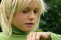 Junge mit Heuschrecke auf der Hand, Zwitscherschrecke, Zwitscher-Heupferd, Heupferd, weibchen mit Legebohrer, Tettigonia cantans, twitching green bushcricket