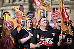 © Joel Goodman - 07973 332324 . 02/10/2016 . Birmingham , UK . Fire Brigades Union at a TUC demonstration in Victoria Square in front of Birmingham Town Hall , against the Conservative Party during the first day of the Conservative Party Conference at the International Convention Centre in Birmingham . Photo credit : Joel Goodman