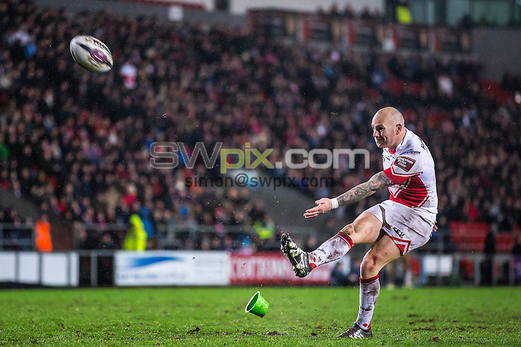Picture by Alex Whitehead/SWpix.com - 05/02/2016 - Rugby League - First Utility Super League - St Helens v Huddersfield Giants - Langtree Park, St Helens, England - St Helens' Luke Walsh kicks for goal.