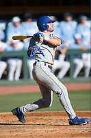 Zach Reks (40) of the Kentucky Wildcats follows through on his swing against the North Carolina Tar Heels at Boshmer Stadium on February 17, 2017 in Chapel Hill, North Carolina.  The Tar Heels defeated the Wildcats 3-1.  (Brian Westerholt/Four Seam Images)