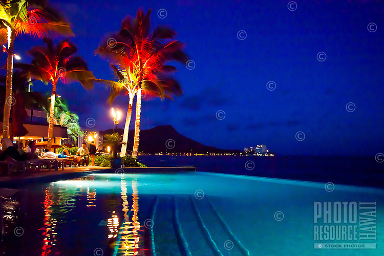 Waikiki poolside in the evening