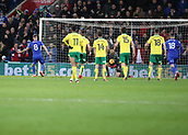 1st December 2017, Cardiff City Stadium, Cardiff, Wales; EFL Championship Football, Cardiff City versus Norwich City; Joe Ralls of Cardiff City takes Cardiff City's second penalty of the game but is saved by Angus Gunn of Norwich City