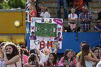 London, UK on Sunday 31st August, 2014. Fans during the Soccer Six charity celebrity football tournament at Mile End Stadium, London.
