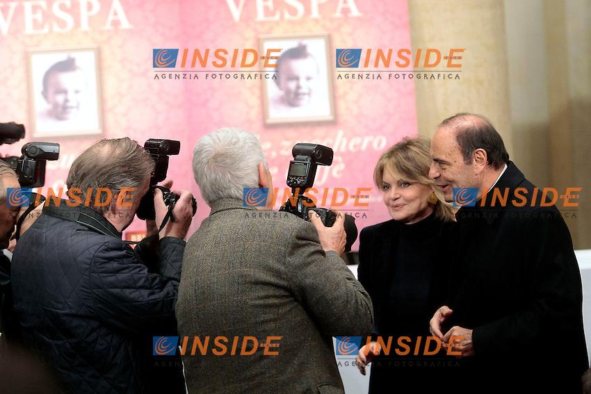 B rubo Vespa e sua moglie Augusta Iannini posano epr i fotografi<br /> Roma 04-12-2013 Tempio do Adriano. Presentazione del libro 'Sale, zucchero e caff&egrave;'<br /> Photo Samantha Zucchi Insidefoto