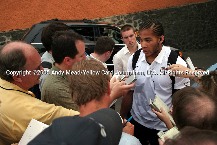 27 March 2005: Oguchi Onyewu talks to the press after the game. Mexico defeated the United States 2-1 at Estadio Azteca in Mexico City, Mexico in a CONCACAF final round World Cup Qualifying game..