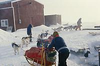 Libby Riddles leaving Shaktoolik 1985 Iditarod AK winter storm blizzard