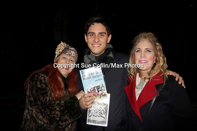 Ilene Zatkin-Butler (r) won a walk on role on Broadway's Rock of Ages and poses with Justin Scribner (production stage manager) and Jane Elissa at the Helen Hayes Theatre, NYC, NY on December 17, 2014 while attending The Jane Elissa Extravaganza 2014 - 19 years - benefiting the Jane Elissa/Charlotte Meyer Endowment Fund which raises revenue that directly supports the research  of the Leukemia/Lymphoma Society. The grant goes to an individual researcher. (Photo by Sue Coflin/Max Photos)