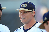 5 May 2012:  FIU pitcher Logan Dodds (34) speaks with teammates prior to the game.  The FIU Golden Panthers defeated the Middle Tennessee State University Blue Raiders, 12-6, at University Park Stadium in Miami, Florida.