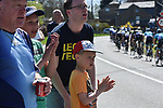 Fans at the roadside watch the race during La Fleche Wallonne 2018 running 198.5km from Seraing to Huy, Belgium. 18/04/2018.<br /> Picture: ASO/Karen Edwards | Cyclefile <br /> <br /> All photos usage must carry mandatory copyright credit (&copy; Cyclefile | ASO/Karen Edwards)