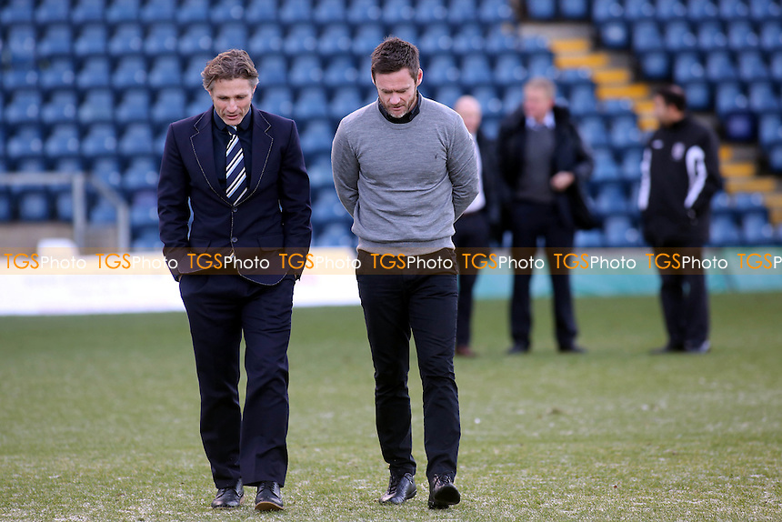 Wycombe manager, Gareth Ainsworth and Fleetwood manager, Graham Alexander, inspect the pitch prior to kick-off - Wycombe Wanderers vs Fleetwood Town - Sky Bet League Two Football at Adams Park, High Wycombe, Buckinghamshire - 29/12/13 - MANDATORY CREDIT: Paul Dennis/TGSPHOTO - Self billing applies where appropriate - 0845 094 6026 - contact@tgsphoto.co.uk - NO UNPAID USE