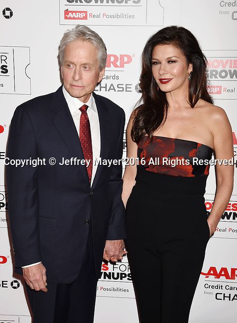 BEVERLY HILLS, CA - FEBRUARY 08: Actors Michael Douglas and Catherine Zeta-Jones attend AARP's Movie For GrownUps Awards at the Regent Beverly Wilshire Four Seasons Hotel on February 8, 2016 in Beverly Hills, California.