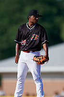 Batavia Muckdogs relief pitcher Elkin Alcala (28) looks in for the sign during a game against the West Virginia Black Bears on July 1, 2018 at Dwyer Stadium in Batavia, New York.  Batavia defeated West Virginia 8-4.  (Mike Janes/Four Seam Images)