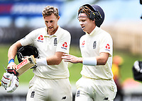 2nd December, Hamilton, New Zealand; England's Joe Root and Ollie Pope at lunch on day 4 of the 2nd test cricket match between New Zealand and England  at Seddon Park, Hamilton, New Zealand.