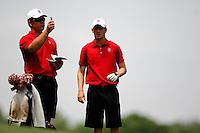 2 JUN 2007:  Stanford's Golf Coach Conrad Ray, (L) offers advise to player Rob Grube  during the Division I Men's Golf Championship held at the Golden Horseshoe Golf Club, Gold Course in Williamsburg, VA.    <br />