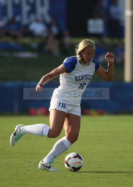Freshman forward Jade Klump passes the ball against EKU Friday August 30, 2013 at the UK Soccer Complex in Lexington, Ky.