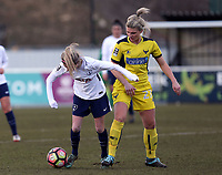 Sarah Wiltshire of Tottenham Ladies and Danielle Carlton of Oxford United Ladies during Tottenham Hotspur Ladies vs Oxford United Women, FA Women's Super League FA WSL2 Football at Theobalds Lane on 11th February 2018