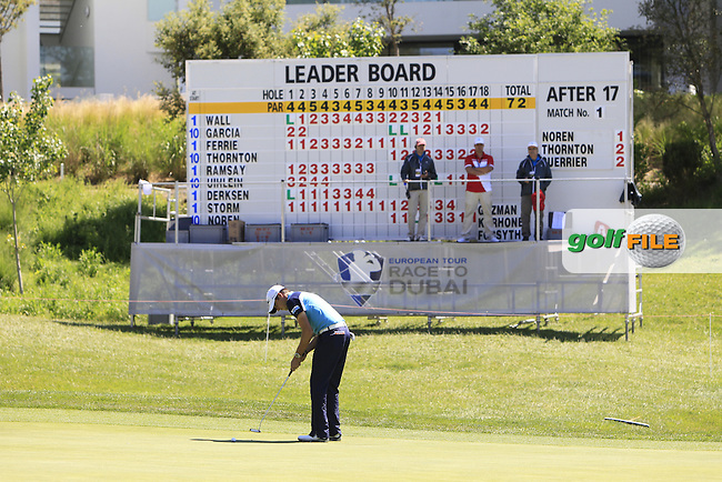 Simon Thornton (IRL) in front of the main leader board on the 18th during Thursday's Round 1 of The Open De Espana at The PGA Catalunya Resort. 15th May 2014.<br /> Picture:  Thos Caffrey / www.golffile.ie