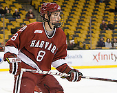 Patrick McNally (Harvard - 8) - The Harvard University Crimson defeated the Northeastern University Huskies 3-2 in the 2012 Beanpot consolation game on Monday, February 13, 2012, at TD Garden in Boston, Massachusetts.