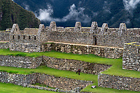 Machu Picchu is certainly the most visited site in Peru. This Inca city is set high in the Andes Mountains above the very turbulent Urubamba River.  Many llamas live at the site.  One can be seen in the distance in this photograph.