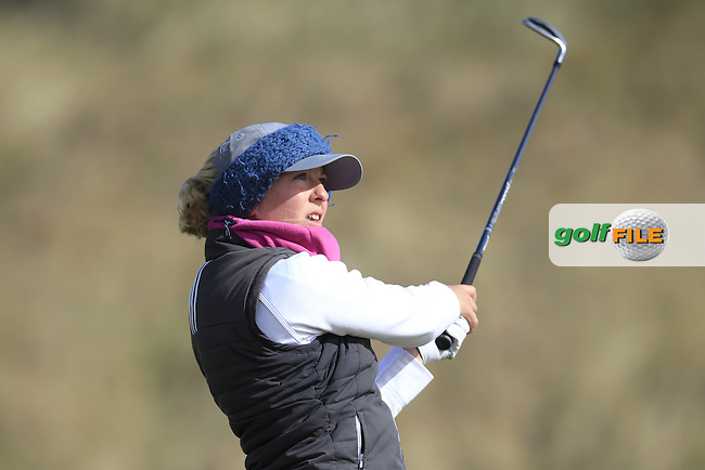 Samantha Giles (England) on the 16th during the final round of the Irish woman's Open stroke play championship, The Island Golf Club, Donate, Co Dublin. 10/04/2016.<br /> Picture: Golffile | Fran Caffrey<br /> <br /> <br /> All photo usage must carry mandatory copyright credit (&copy; Golffile | Fran Caffrey)