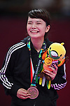 Paweena Raksachart (THA), <br /> AUGUST 27, 2018 - Karate : Women's Kumite -50kg Victory ceremony at Jakarta Convention Center Plenary Hall during the 2018 Jakarta Palembang Asian Games in Jakarta, Indonesia. <br /> (Photo by MATSUO.K/AFLO SPORT)