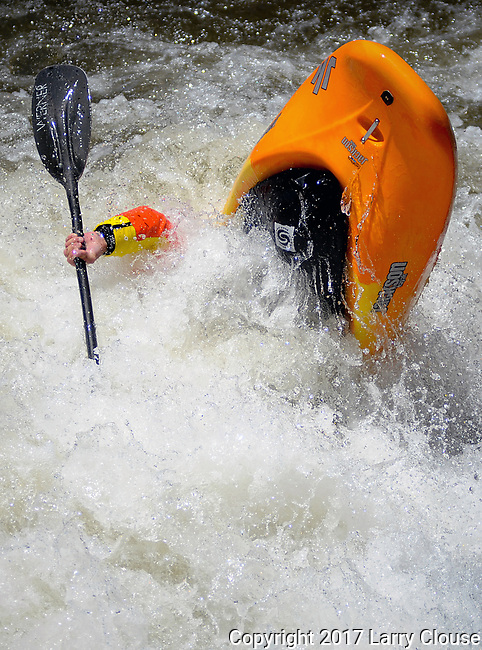 June 9, 2017 - Vail, Colorado, U.S. - Fifty-three year old multiple World Champion and current USA Freestyle team member, Erik Jackson, coming out of a flip manuever in the Freestyle Kayak competition during the GoPro Mountain Games, Vail, Colorado.  Adventure athletes from around the world meet in Vail, Colorado, June 8-11, for America's largest celebration of mountain sports, music, and lifestyle.