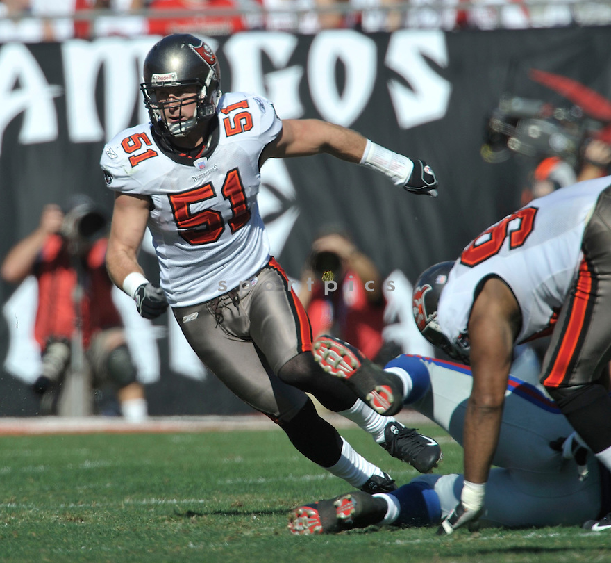 BARRETT RUUD, of the Tampa Bay Buccaneers in action during the Buccaneers game against the New York Giants  on January 6, 2007 in Tampa Bay, Florida...GIANTS win 24-14..SportPics