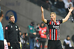 06.10.2019, Commerzbankarena, Frankfurt, GER, 1. FBL, Eintracht Frankfurt vs. SV Werder Bremen, <br /> <br /> DFL REGULATIONS PROHIBIT ANY USE OF PHOTOGRAPHS AS IMAGE SEQUENCES AND/OR QUASI-VIDEO.<br /> <br /> im Bild: Florian Kohlfeldt (Trainer, SV Werder Bremen), Martin Hinteregger (Eintracht Frankfurt #13)<br /> <br /> Foto © nordphoto / Fabisch