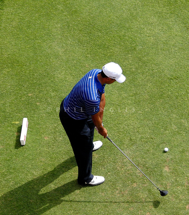 Tiger Woods (USA) swing sequence 3 wood on the 17th tee during the pro-am for the Omega Dubai Desert Classic played at the Emirates Golf Club on 9th February 2011 in Dubai, United Arab Emirates. Picture Credit / Phil Inglis / Golf Images.....