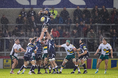 March 3rd 2017, Sale, Cheshire, England, Aviva Premiership Rugby, Sale Sharks versus Northampton Saints; Sale Sharks Magnus Lund wins a line out as the rain falls
