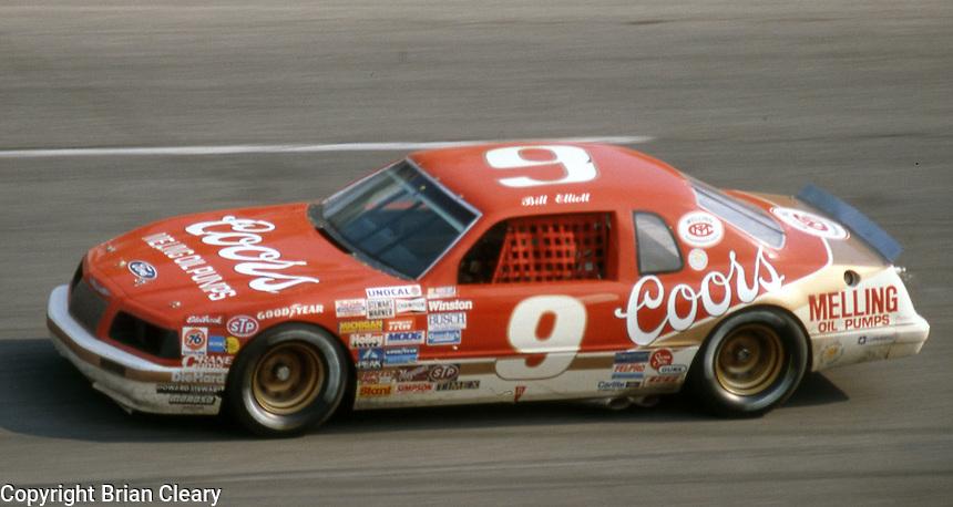 Bill Elliott (9) Ford 5th place  Motorcraft 500 at Atlanta International Raceway in Hampton, GA on March 16, 1986.   (Photo by Brian Cleary/www.bcpix.com)