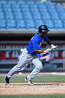 Calvin Newsome (3) of Columbia High School in Columbia, Mississippi playing for the New York Mets scout team during the East Coast Pro Showcase on August 2, 2014 at NBT Bank Stadium in Syracuse, New York.  (Mike Janes/Four Seam Images)