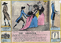 BNPS.co.uk (01202 558833)<br /> Pic: JanBondeson/BNPS<br /> <br /> A cartoon suggesting that Rhynwick Williams, shown in disguise attacking the Porter sisters, ought to be hanged for his crimes.<br /> <br /> A historian has shed new light on a little-known predator who terrorised London's streets a century before Jack the Ripper.<br /> <br /> The despicable culprit - dubbed The Monster - targeted well dressed young women by stabbing them in the thigh or buttocks.<br /> <br /> His reign of terror lasted for the first half of 1790, with him clocking up six victims on a single day. Other women were kicked from behind with spikes fastened to his knees, while some were stabbed in the nose by a spike hidden in a bouquet they were invited to smell.<br /> <br /> By the time The Monster was finally apprehended, his tally of traumatised victims was over 50. He was unmasked as disgraced Welsh ballet dancer Rhynwick Williams, who was kicked out of the theatre after committing theft and descended into the capital's seedy underworld.<br /> <br /> Historian Dr Jan Bondeson has written about him in his book 'The London Monster: Terror on the Streets', and also contributed to an upcoming film on the sinister episode.