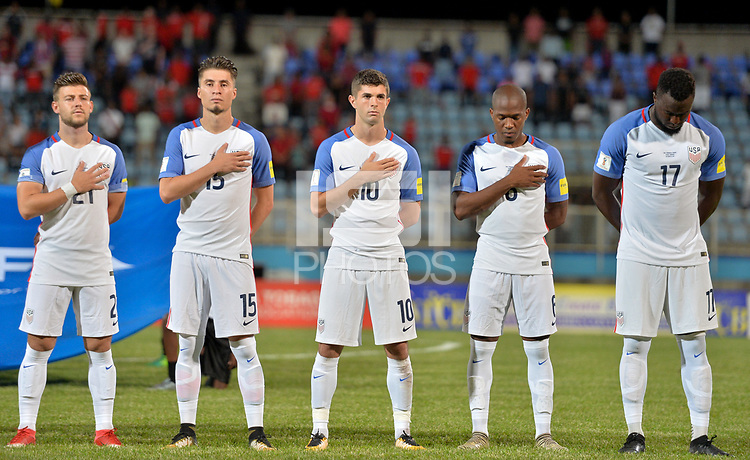 Couva, Trinidad & Tobago - Tuesday Oct. 10, 2017: Paul Arriola, Jorge Villafaña, Christian Pulisic, Darlington Nagbe, Jozy Altidore during a 2018 FIFA World Cup Qualifier between the men's national teams of the United States (USA) and Trinidad & Tobago (TRI) at Ato Boldon Stadium.