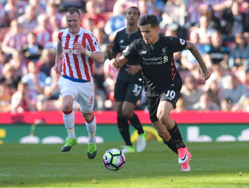 Liverpool's Philippe Coutinho<br /> <br /> Photographer Terry Donnelly/CameraSport<br /> <br /> The Premier League - Stoke City v Liverpool - Saturday 8th April 2017 - bet365 Stadium - Stoke-on-Trent<br /> <br /> World Copyright &copy; 2017 CameraSport. All rights reserved. 43 Linden Ave. Countesthorpe. Leicester. England. LE8 5PG - Tel: +44 (0) 116 277 4147 - admin@camerasport.com - www.camerasport.com