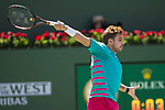 March 19, 2017: Stan Wawrinka, SUI, battles Roger Federer, SUI, in the finals at the PNB Paribas Open being played at the Indian Wells Tennis Garden in Indian Wells, California.  ©Mal Taam/Tennisclix