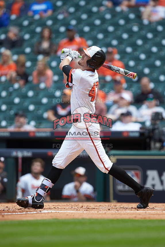 Clayton Harp (47) of the Sam Houston State Bearkats follows through on his swing against the Vanderbilt Commodores in game one of the 2018 Shriners Hospitals for Children College Classic at Minute Maid Park on March 2, 2018 in Houston, Texas. The Bearkats walked-off the Commodores 7-6 in 10 innings.   (Brian Westerholt/Four Seam Images)