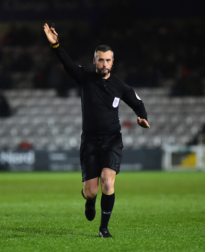 Referee Sebastian Stockbridge<br /> <br /> Photographer Andrew Vaughan/CameraSport<br /> <br /> The EFL Sky Bet League Two - Saturday 15th December 2018 - Lincoln City v Morecambe - Sincil Bank - Lincoln<br /> <br /> World Copyright © 2018 CameraSport. All rights reserved. 43 Linden Ave. Countesthorpe. Leicester. England. LE8 5PG - Tel: +44 (0) 116 277 4147 - admin@camerasport.com - www.camerasport.com
