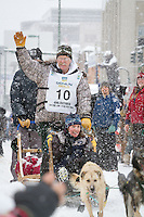 Jeff King leaves the 2011 Iditarod ceremonial start line in downtown Anchorage, during the 2012 Iditarod..Jim R. Kohl/Iditarodphotos.com