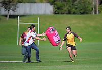 Blake Hill (Thames Valley) passes to Ryan Shelford (Horowhenua-Kapiti) during the Pink Batts Heartland Championship 2013 season launch at Waikanae RFC, Waikanae, New Zealand on Tuesday, 13 August 2013. Photo: Dave Lintott / lintottphoto.co.nz