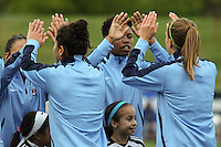 Piscataway, NJ, May 7, 2016.   Sky Blue FC players  Maya Hayes (5), Sarah Killion (16), Raquel Rodriguez (11), and Taylor Lytle (6) high five before their game with the Western New York Flash.  The Western New York Flash defeated Sky Blue FC, 2-1, in a National Women's Soccer League (NWSL) match at Yurcak Field.