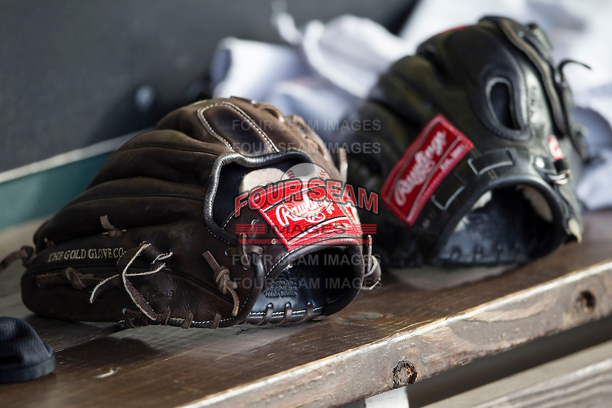 Rawlings baseball gloves before the Pacific Coast League baseball game between the Sacramento River Cats and the Round Rock Express on June 19, 2014 at the Dell Diamond in Round Rock, Texas. The Express defeated the River Cats 7-1. (Andrew Woolley/Four Seam Images)