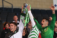 Injured captain Marcus Fraser, Lifting the cup aloft with John Herron and Leo Fasan after the Dunfermline Athletic v Celtic Scottish Football Association Youth Cup Final match played at Hampden Park, Glasgow on 1.5.13. ..