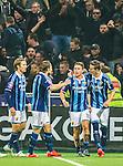 Stockholm 2015-05-25 Fotboll Allsvenskan Djurg&aring;rdens IF - AIK :  <br /> Djurg&aring;rdens Kerim Mrabti firar sitt 2-2 m&aring;l med Haris Radetinac , Kevin Walker  och Jesper Arvidsson framf&ouml;r Djurg&aring;rdens supportrar under matchen mellan Djurg&aring;rdens IF och AIK <br /> (Foto: Kenta J&ouml;nsson) Nyckelord:  Fotboll Allsvenskan Djurg&aring;rden DIF Tele2 Arena AIK Gnaget jubel gl&auml;dje lycka glad happy
