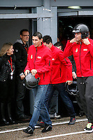 Real Madrid players Angel Di Maria and Pepe participate and recive new Audi during the presentation of Real Madrid's new cars made by Audi at the Jarama racetrack on November 8, 2012 in Madrid, Spain.(ALTERPHOTOS/Harry S. Stamper) .<br /> &copy;NortePhoto