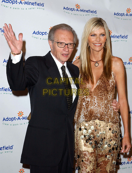 LARRY KING & WIFE SHAWN SOUTHWICK.3rd Annual Adopt-A-Minefield Benefit Gala, Beverly Hilton Hotel.half length, half-length, waving.www.capitalpictures.com.sales@capitalpictures.com.©Capital Pictures.